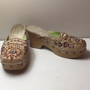 Bamboo sequin and beaded mules shoes